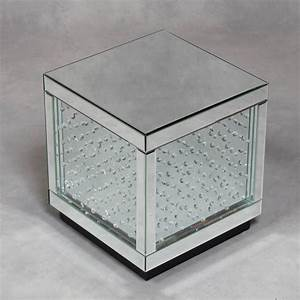 mirrored glass cube with crystal detailing fantastic With glass cube coffee table