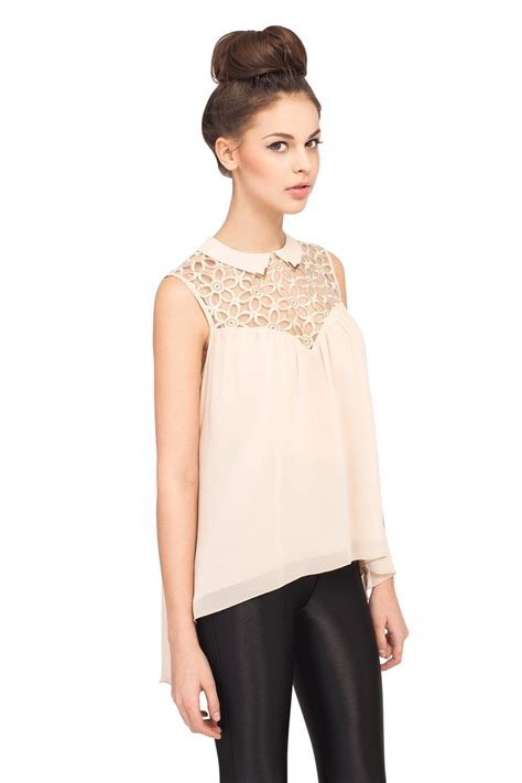 lace collar blouse sleevless pan collar lace blouse
