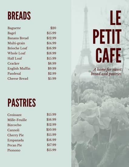 customize  french menu templates  canva