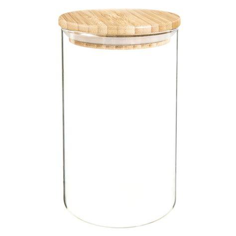 bocal en verre et bambou h 17 cm scandinavian maisons du