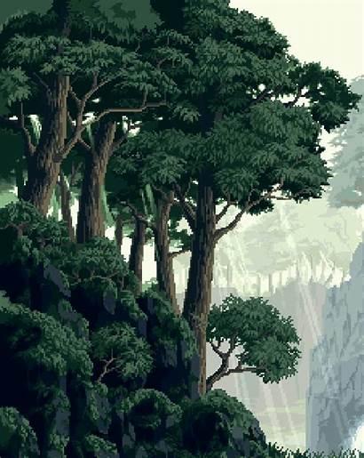 Pixel Forest Background Pixels Trees Animation Bit
