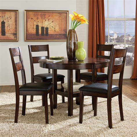 circle dining table set 5 piece round table dining side chairs set by standard