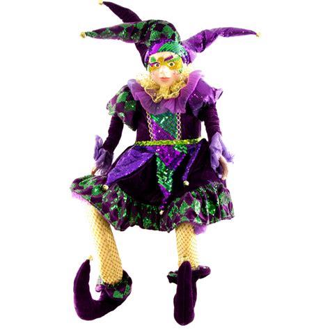 mardi gras sitting jester doll  mask