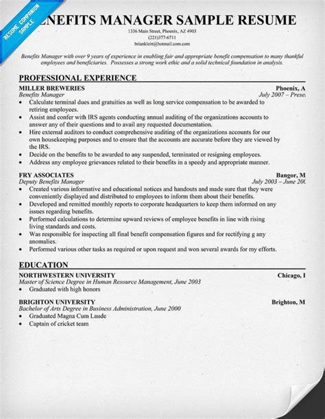 Benefits Manager Resume Template benefits manager resume exle the prof me