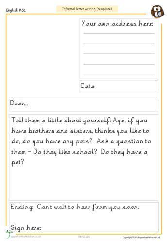 informal letter writing template apple   teacher