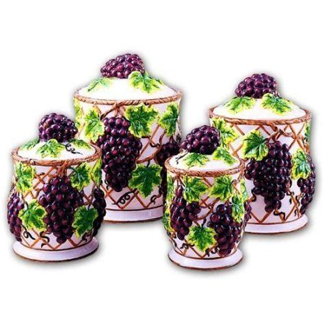 grape kitchen canisters grapes kitchen canisters set ceramic fruit theme home