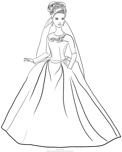 desenho de barbie cinderela  vestido de noiva  colorir