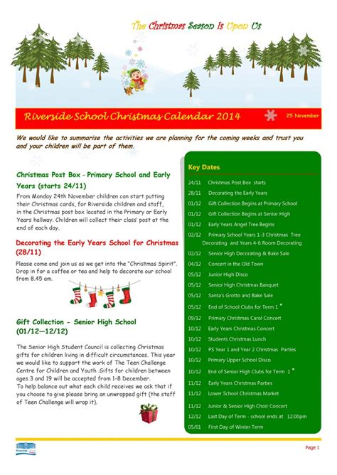christmas events calendar riverside international school