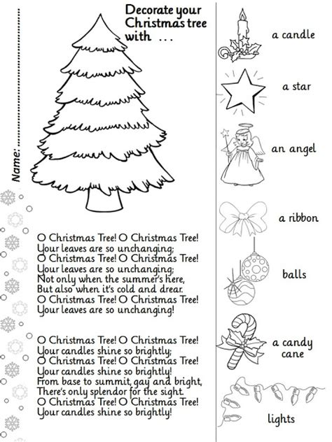 enjoy teaching english o christmas tree song activity