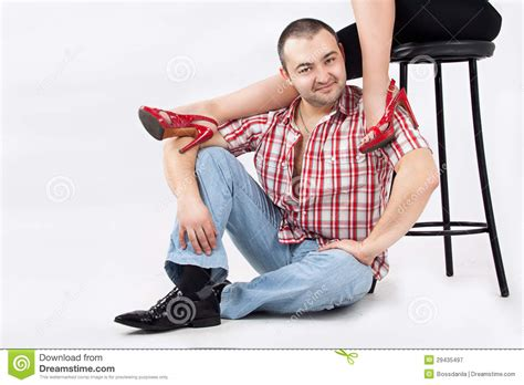 Man Under Womans' Legs Stock Image. Image Of Couple