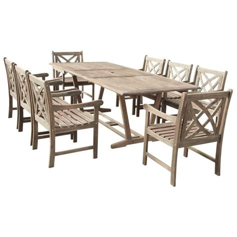 9 extendable patio dining set in gray v1294set12