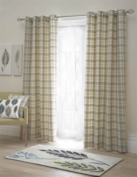 tartan check lined eyelet curtains ready made ring top
