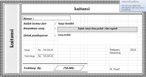 Contoh Kwitansi Pembayaran Excel kwitansi sederhana file excel yook contoh