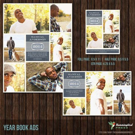 yearbook ad templates free instant yearbook ad templates 3 by thehummingbirdpress 14 00 photography design