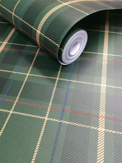 fine decor caledonian green tartan wallpaper fd
