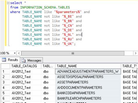 sql server show tables dynamics ax 2012 sql server display table name