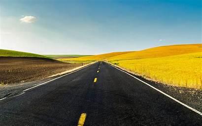 4k Road Yellow Field Background