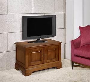 Meuble Tv 2 Portes Maryse En Merisier Massif De Style