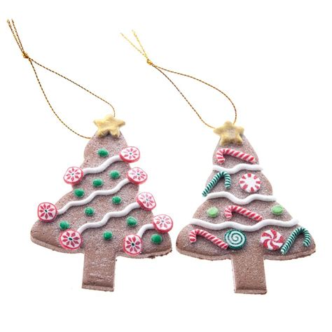 gisela graham christmas set of 2 resin gingerbread tree