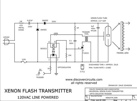 Line Powered Xenon Flash Transmitter Basic Circuit