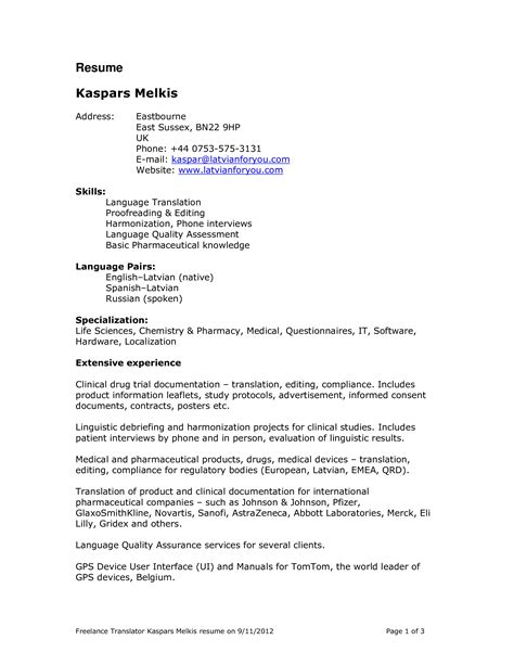 Translator Resume Sle by Translator Resume Templates At Allbusinesstemplates