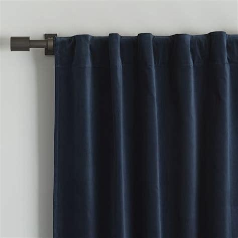 velvet pole pocket curtain regal blue west elm
