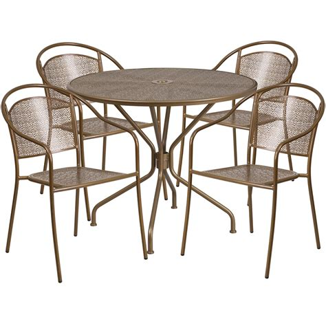 Cheap Patio Table And Chairs by 35 25 Gold Indoor Outdoor Steel Patio Table Set