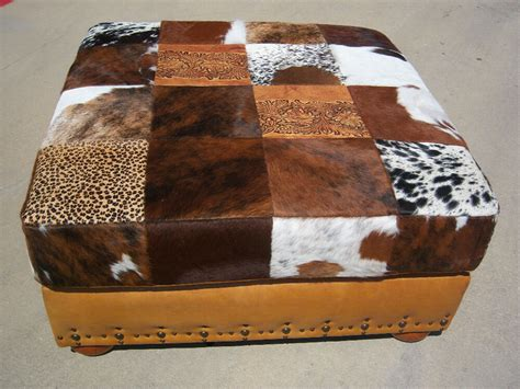 Patchwork Cowhide by 40 Quot X 40 Quot Patchwork Cowhide Ottoman Ebay