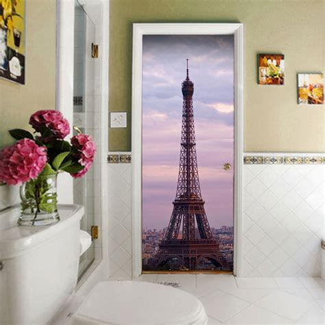 eiffel tower door contact paper wall sticker