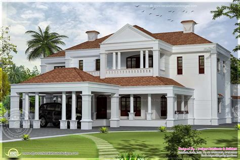 colonial style 5900 sq ft colonial style villa exterior elevation home kerala plans
