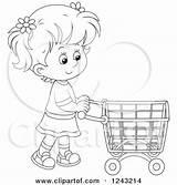 Shopping Cart Pushing Clipart Illustration Boy Royalty Bannykh Alex Vector Clip Caucasian Clipartof sketch template