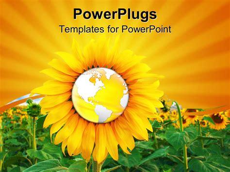 powerpoint template  sunflower   globe
