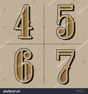 Western Alphabet Letters Vintage Numbers Design Vector (4 ...