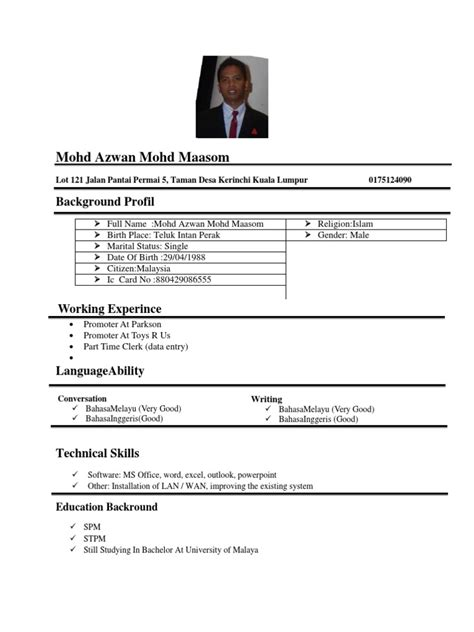 contoh curriculum vitae format resume new doc of