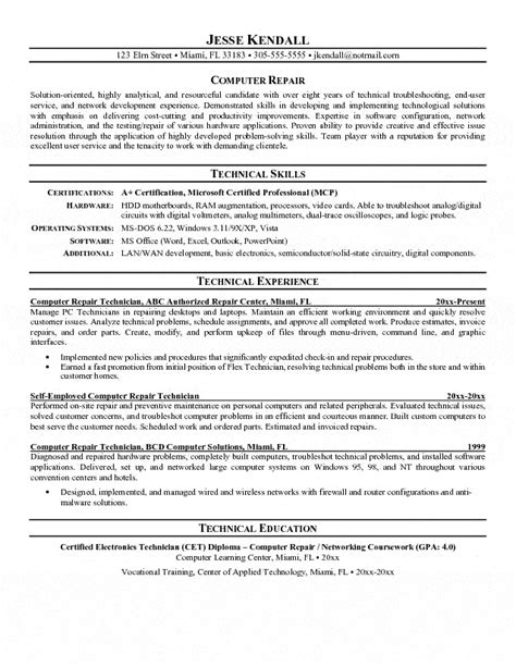 Computer Technician Resume Summary by Computer Repair Technician Resume