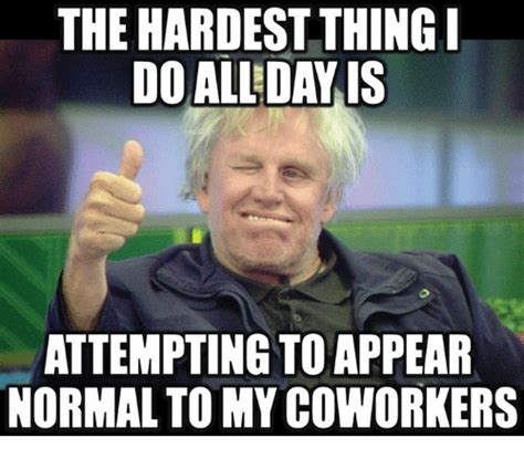 Funny Memes About Coworkers - the hardest thing i do all day is attempting toappear normal to my coworkers funny meme on sizzle