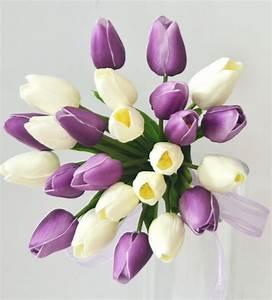 Latex purple cream white tulip wedding bouquet posy flower ...