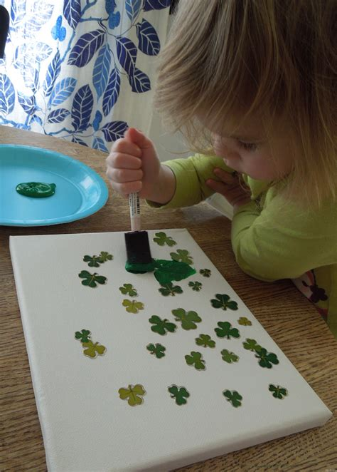 Shamrock Sticker Resist Painting Play Dr Mom