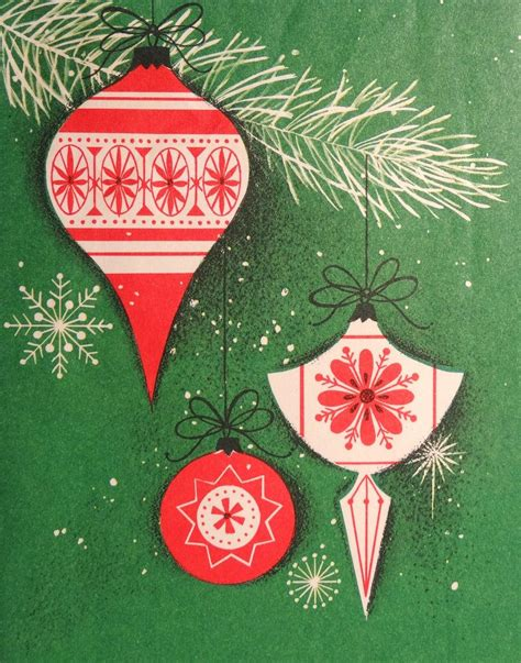mid century  images christmas card ornaments