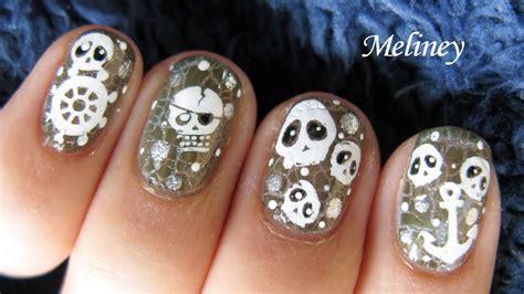 nail skull nails crackle pirate designs skulls halloween polish tutorial short cute pirates