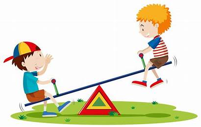 Seesaw Playing Park Boys Vector Clipart Graphics