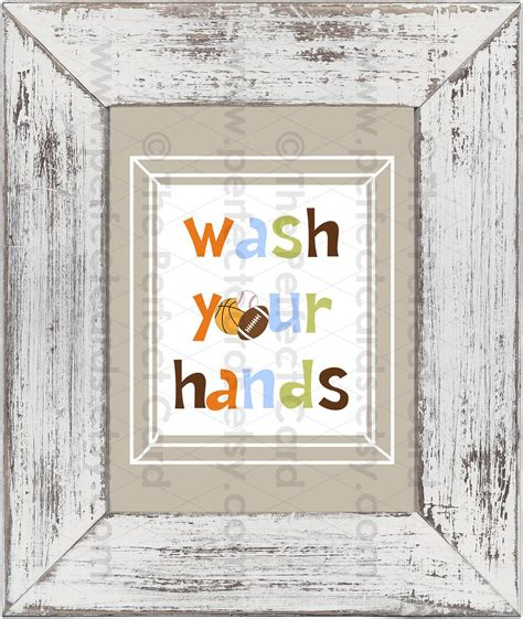 Boys Bathroom Rules Prints Set Of 3 Sports 8x10