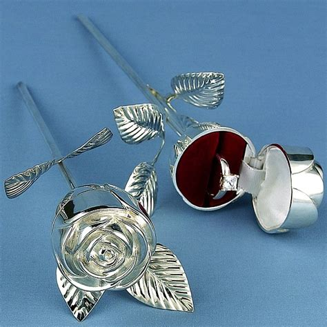 silver plated long stem rose wedding ring holder