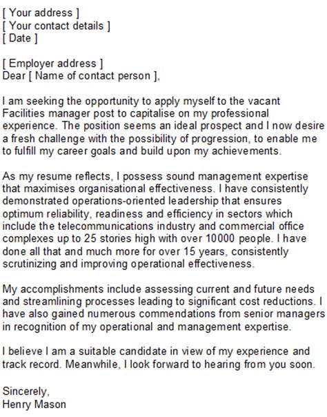 Facilities Management Resume Cover Letter by Facilities Manager Covering Letter Sle