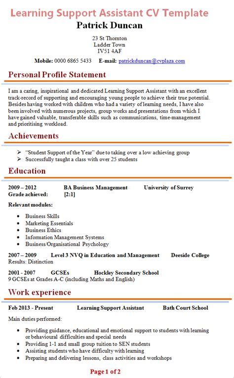 Ta Resume Exles by Learning Support Assistant Cv