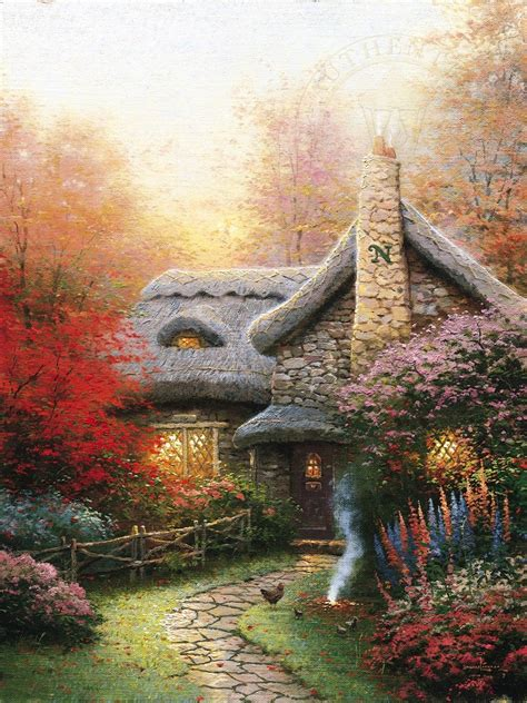 kinkade cottage autumn at s cottage limited edition