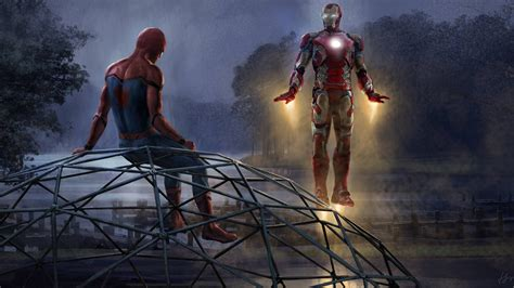 wallpaper iron man spider man homecoming artwork