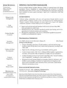 exle dining facilities manager resume sle