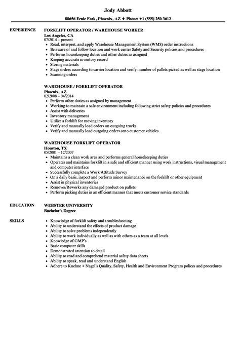 forklift operator resume samples radaircarscom