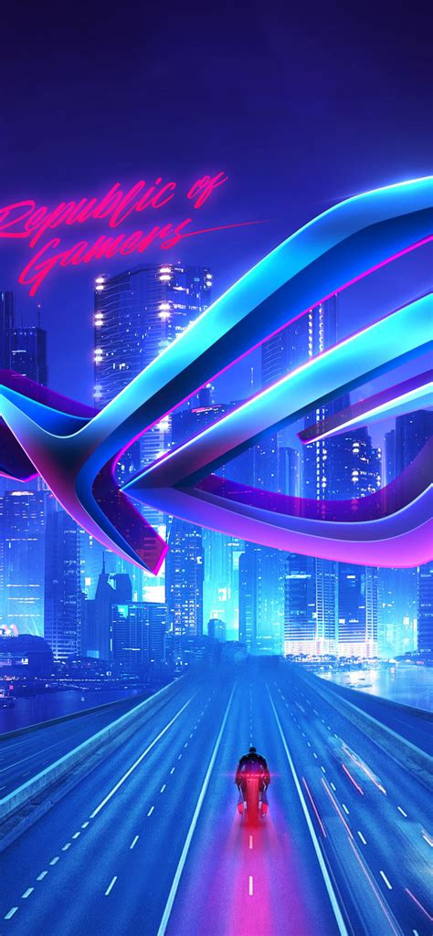 republic  gamers  wallpaper asus rog cityscape neon technology